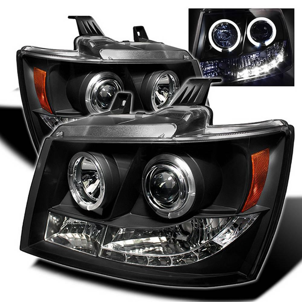hight resolution of chevy suburban 1500 2500 07 14 chevy tahoe 07 14 avalanche 07 14 projector headlights led halo black