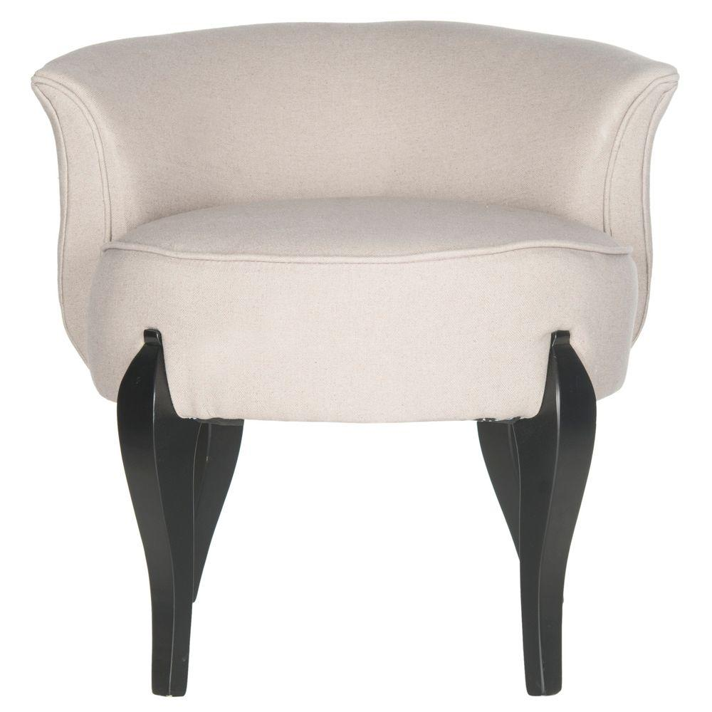 Safavieh Mora Taupe Linen and Black Vanity ChairMCR4692A
