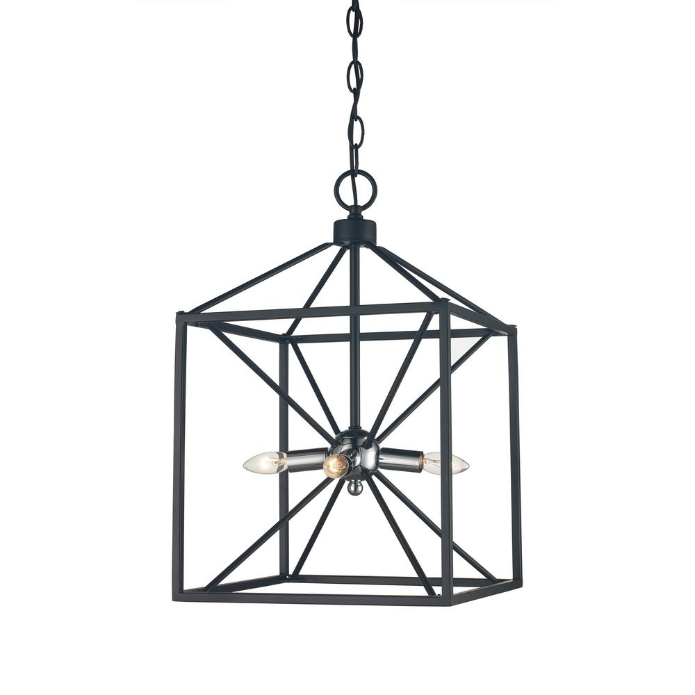 Bel Air Lighting Donovan 4-Light Polished Chrome and Black