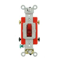 leviton 20 amp industrial grade heavy duty double pole pilot light toggle switch red [ 1000 x 1000 Pixel ]