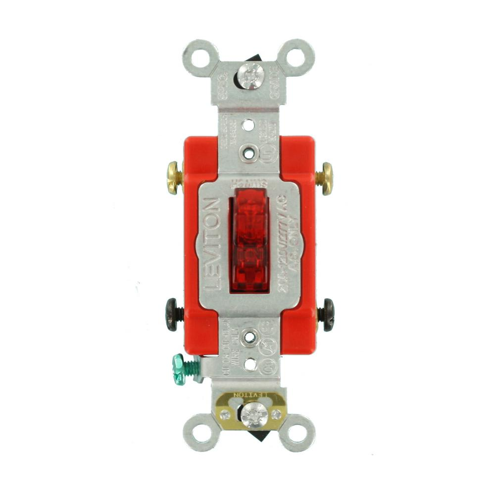 hight resolution of leviton 20 amp industrial grade heavy duty double pole pilot light toggle switch red