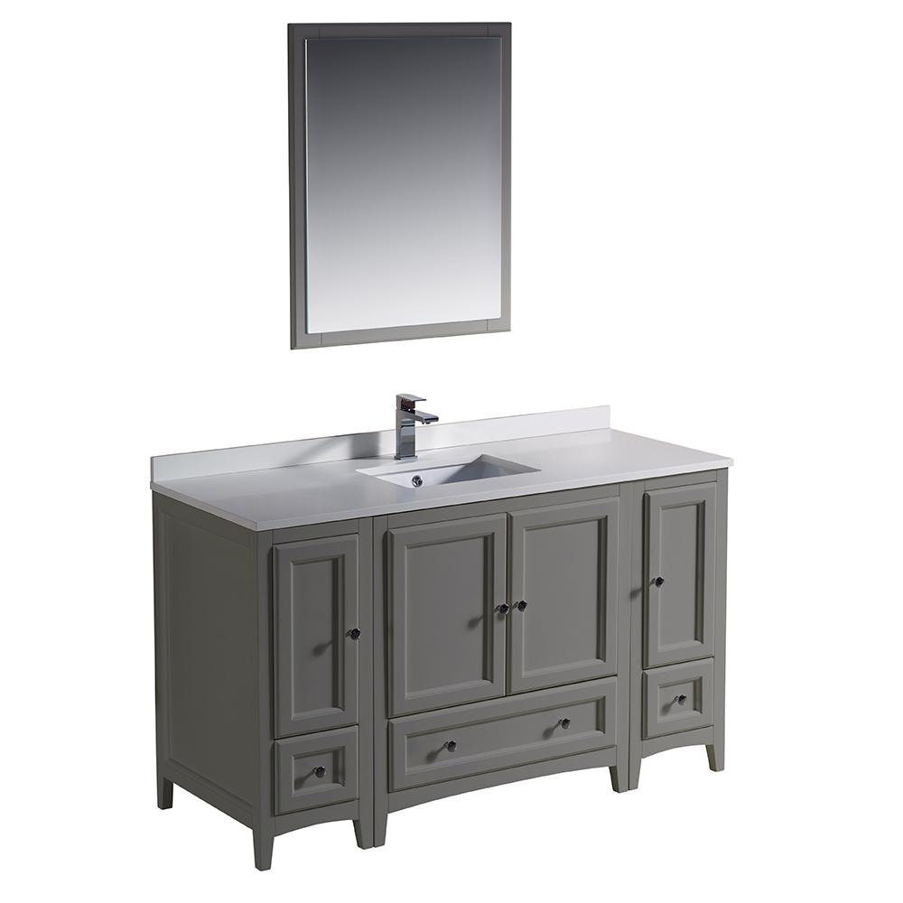 54 Bathroom Vanity Fresca Oxford 54 In Traditional Bathroom Vanity In Gray With Quartz Stone Vanity Top In White With White Basin And Mirror