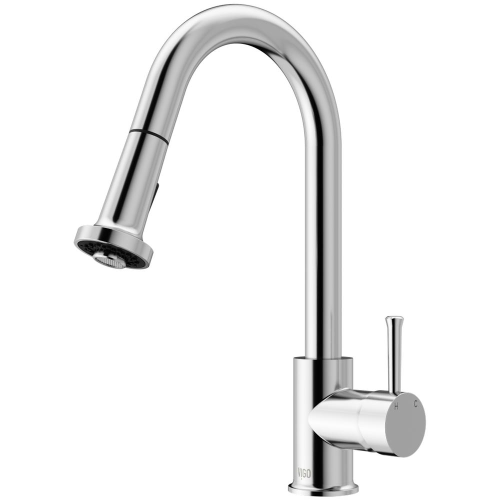 vigo kitchen faucet wall cabinets unfinished harrison single handle pull down sprayer in chrome