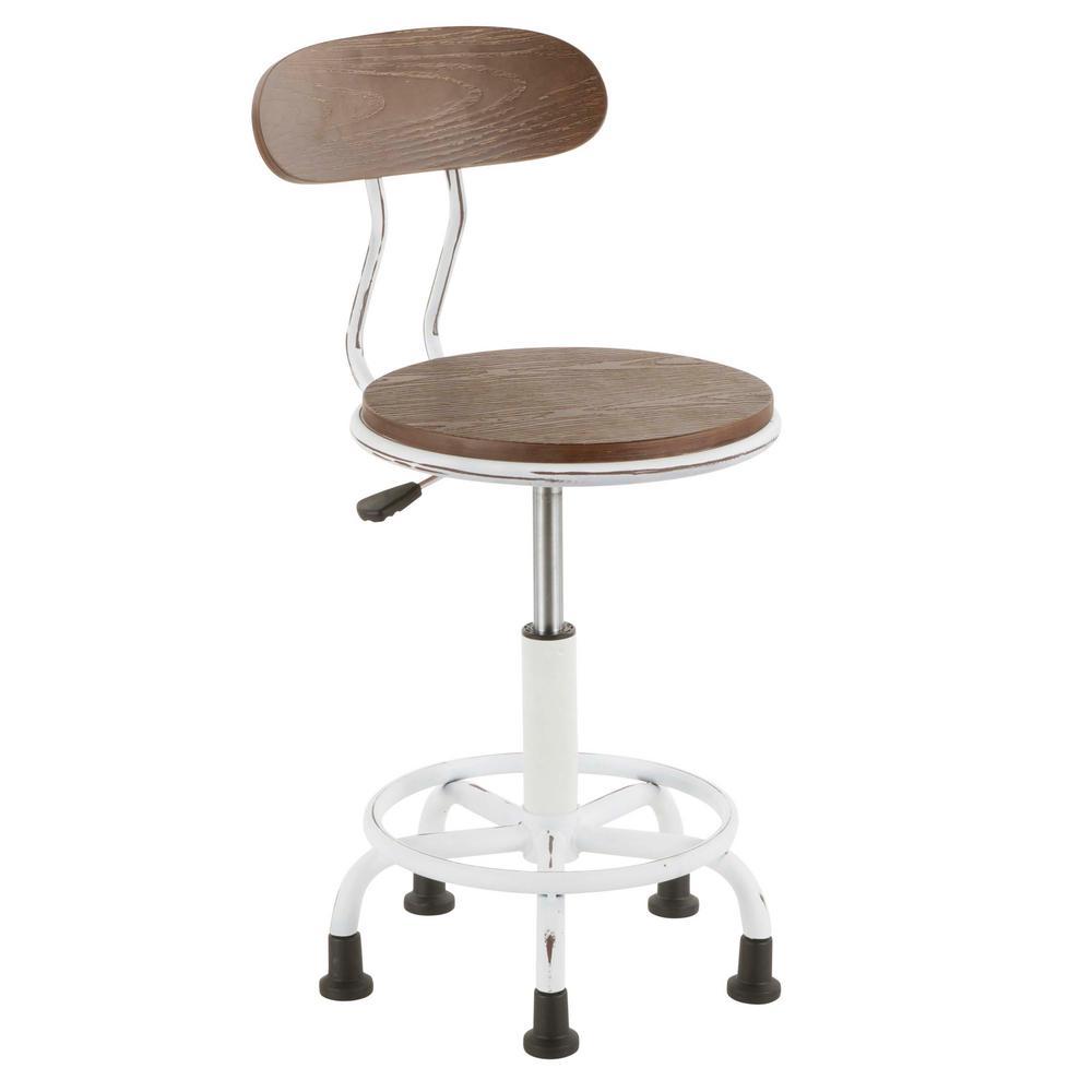 wooden white desk chair wicker fan office wood chairs home dakota vintage metal and espresso task