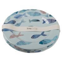 Tag 11 in. Fish Design Melamine Dinner Plate (Set of 4