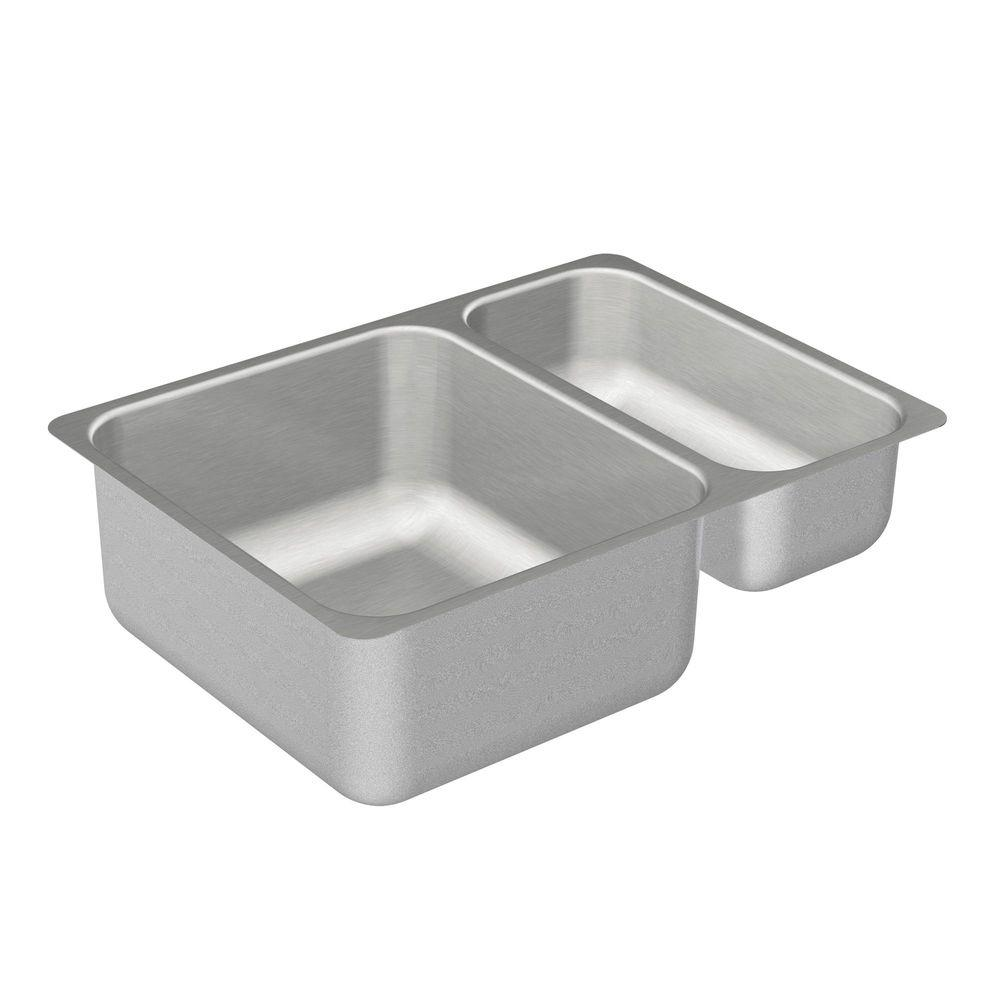 24 kitchen sink seat covers for chairs moen 2000 series undermount stainless steel in double bowl