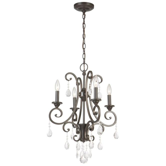 Hampton Bay 4 Light Oil Rubbed Bronze Crystal Small Chandelier Ihn9114a The Home Depot