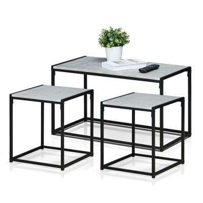 black living room tables furniture arm covers gray coffee accent the home depot ernst modern stone color set