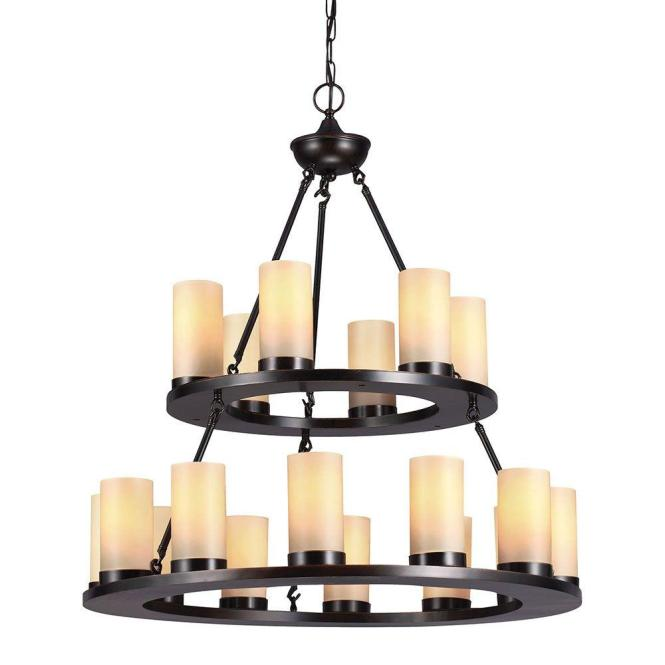 Sea Gull Lighting Ellington 18 Light Burnt Sienna Round Chandelier With Cafe Tint Candle Glass