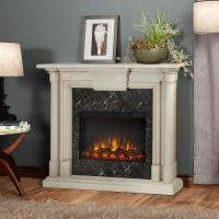 Real Flame Maxwell 48 in. Electric Fireplace in Whitewash