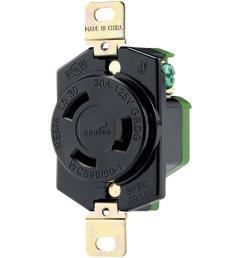eaton 30 amp 125 volt hart lock industrial grade receptacle black and white [ 1000 x 1000 Pixel ]