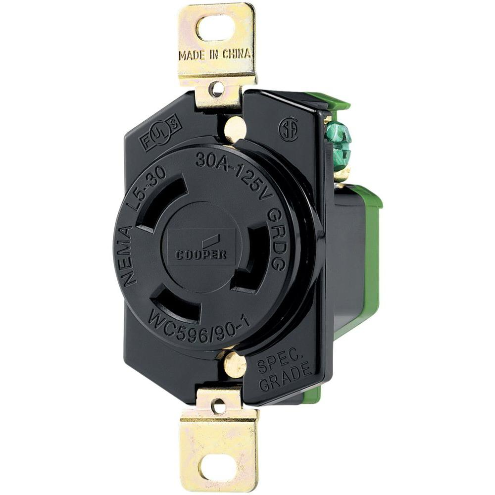 hight resolution of eaton 30 amp 125 volt hart lock industrial grade receptacle black and white
