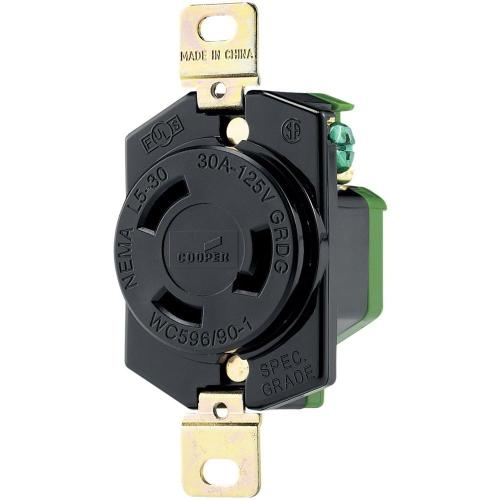 small resolution of eaton 30 amp 125 volt hart lock industrial grade receptacle black and white