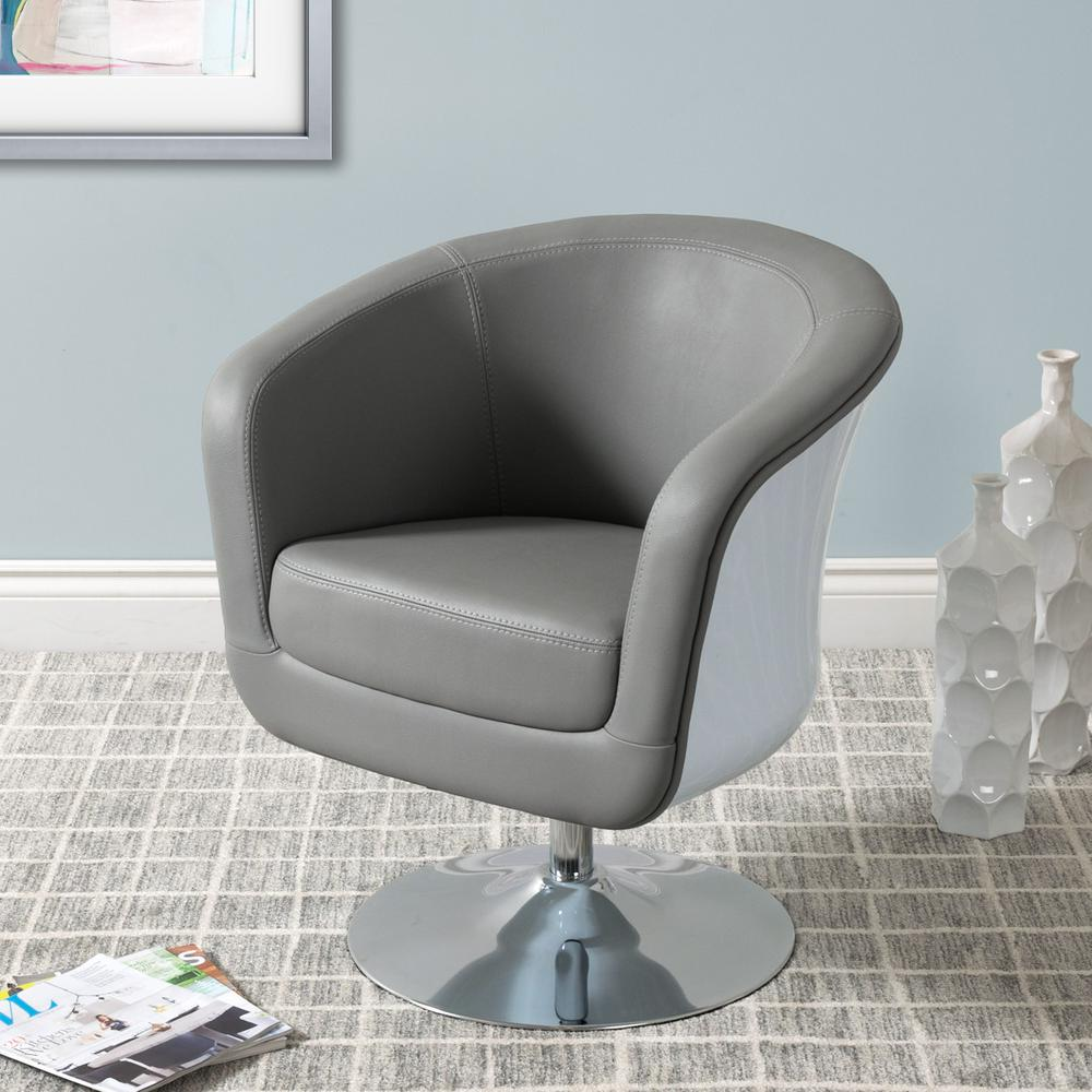 radford accent tub chair barber chairs wholesale corliving mod modern grey and white bonded leather dln 260