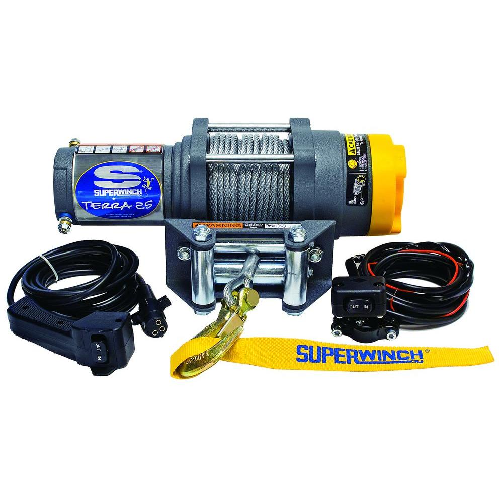 hight resolution of superwinch terra series 25 12 volt atv winch with 4 way roller fairlead and
