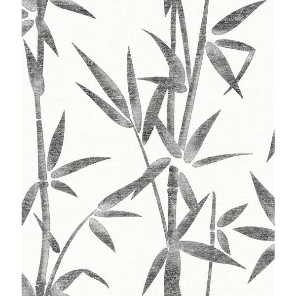 Brewster 56.4 sq. ft. Catasetum Black Bamboo Wallpaper