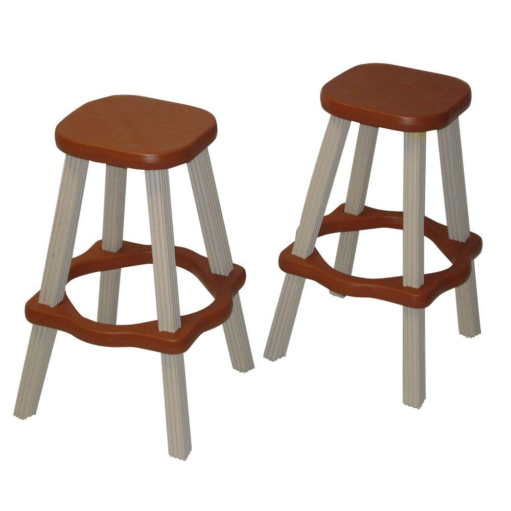 high bar stool chairs used parsons leisure accents 26 in redwood resin patio stools set of 2