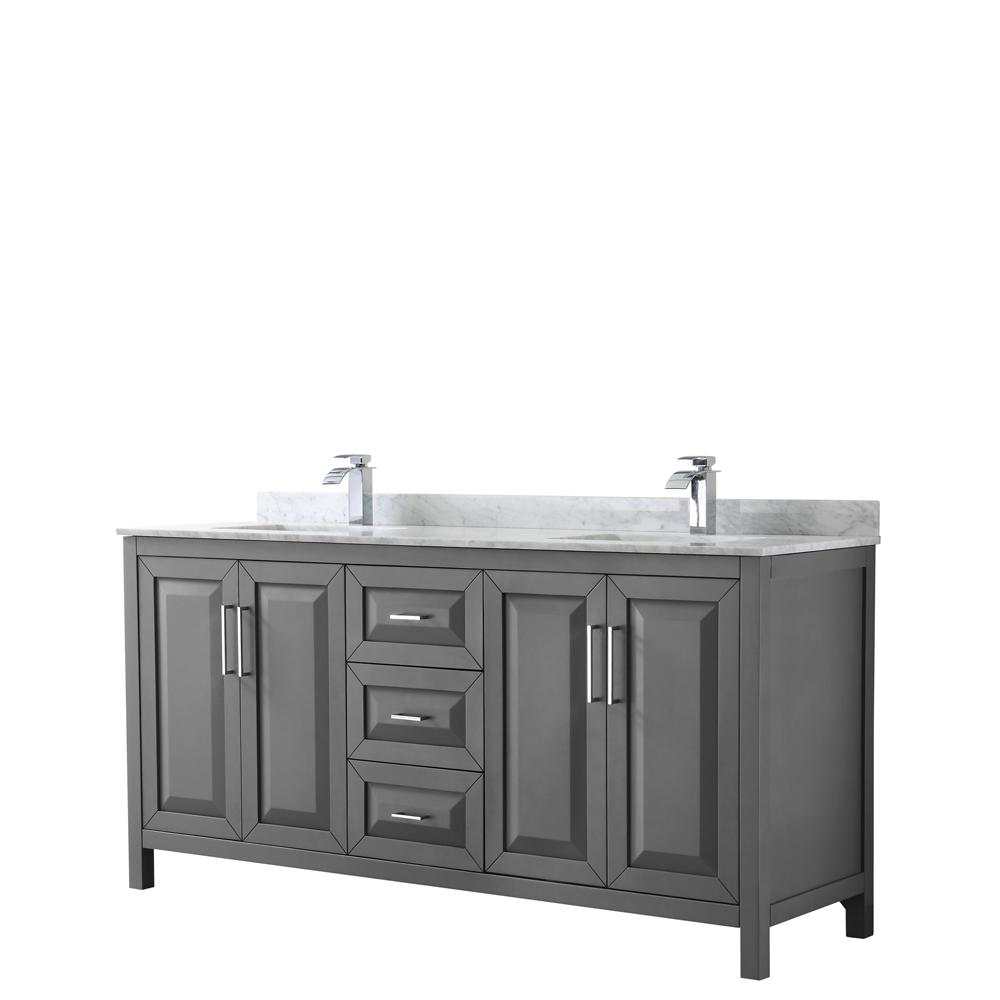 Dark Bathroom Vanity Wyndham Collection Daria 72 In Double Bathroom Vanity In Dark Gray With Marble Vanity Top In Carrara White With White Basin