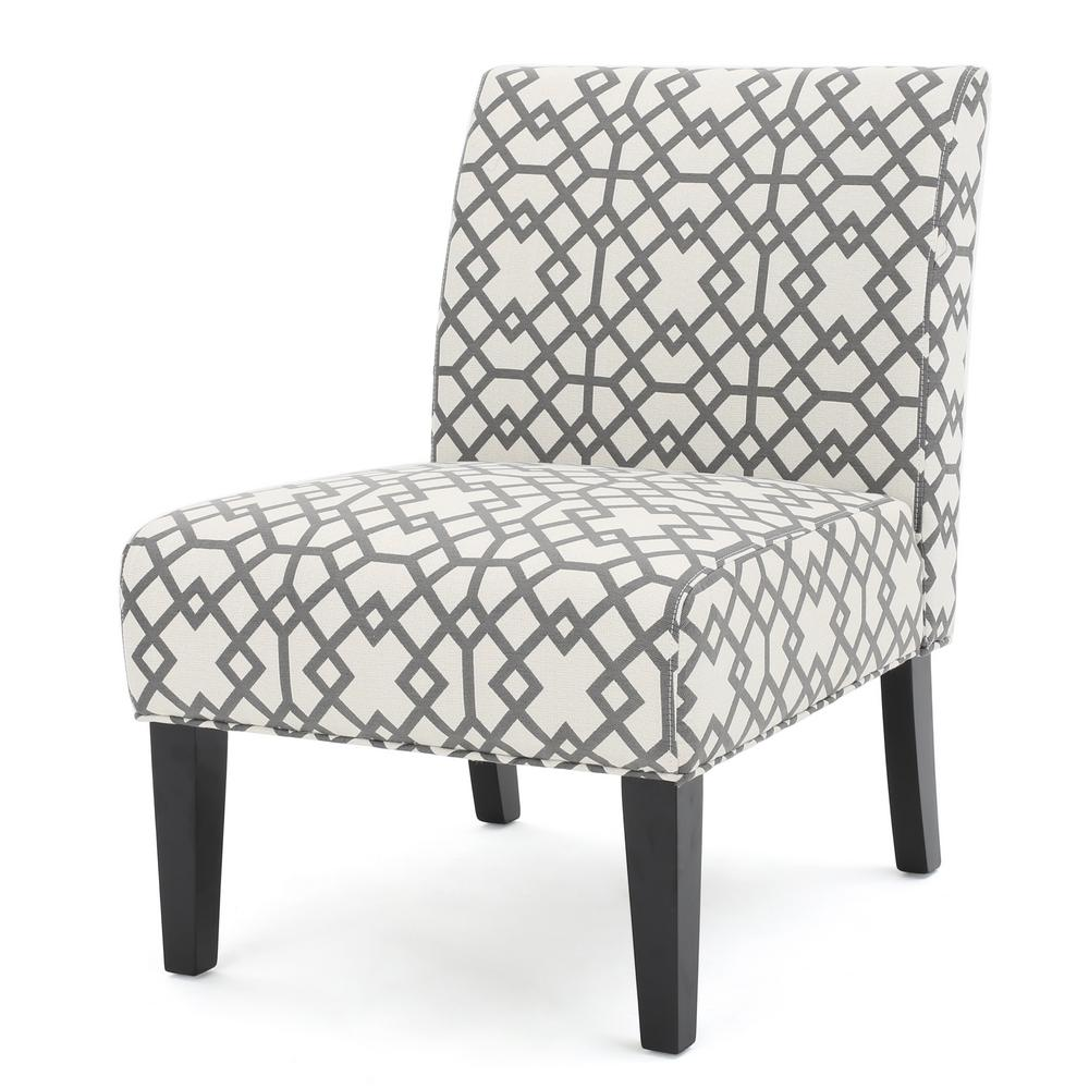 accent chairs gray pattern beach folding chair noble house kassi grey geometric patterned fabric 299754 the home depot