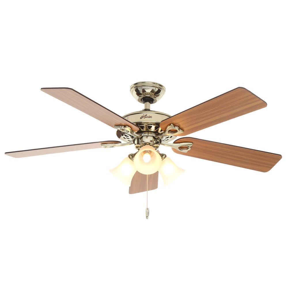 Hunter Sontera 52 in. Indoor Hill Bright Brass Ceiling Fan