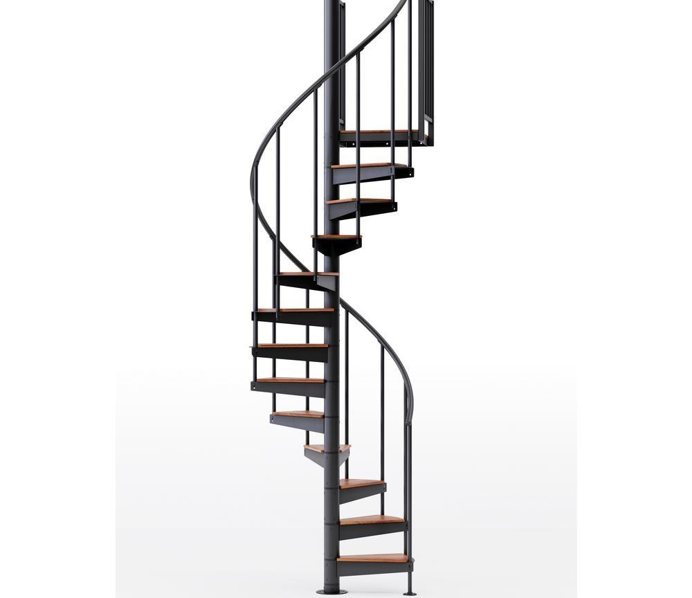 Mylen Stairs Condor Black Interior 42 Diameter 10 Treads With 1 | 10 Ft Spiral Staircase | Handrail | 36 Tall | Arke Phoenix | Stair Kit | Arke Enduro