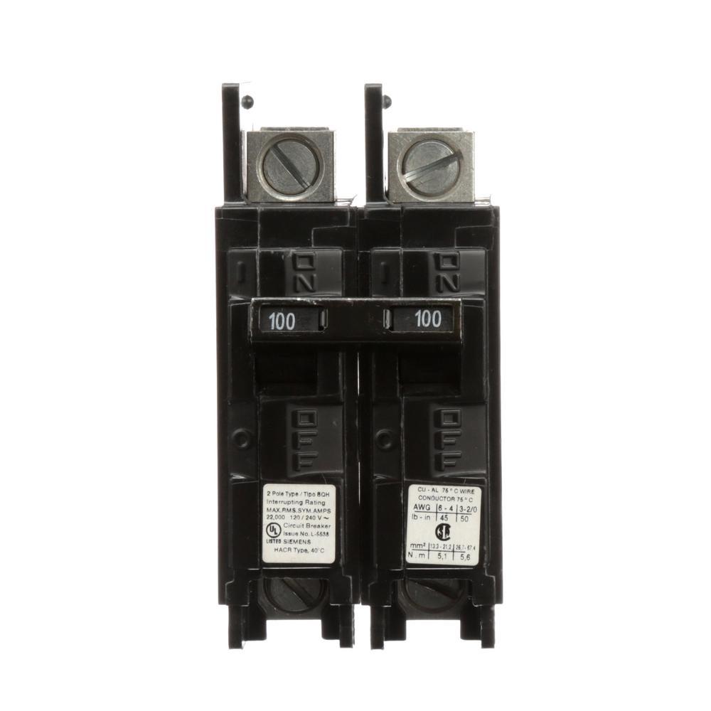 medium resolution of siemens 100 amp 2 pole type bqh 22 ka lug in lug