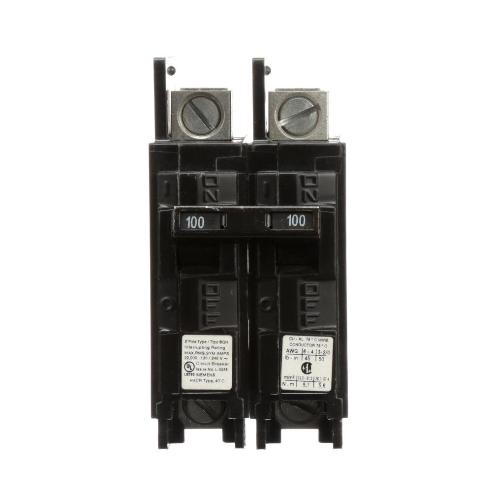 hight resolution of siemens 100 amp 2 pole type bqh 22 ka lug in lug