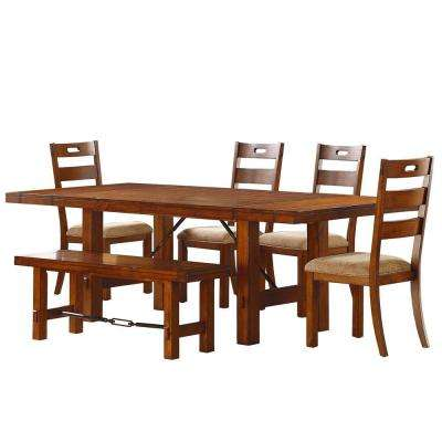 rustic kitchen sets replacement doors dining set room furniture honea 6 piece vintage oak