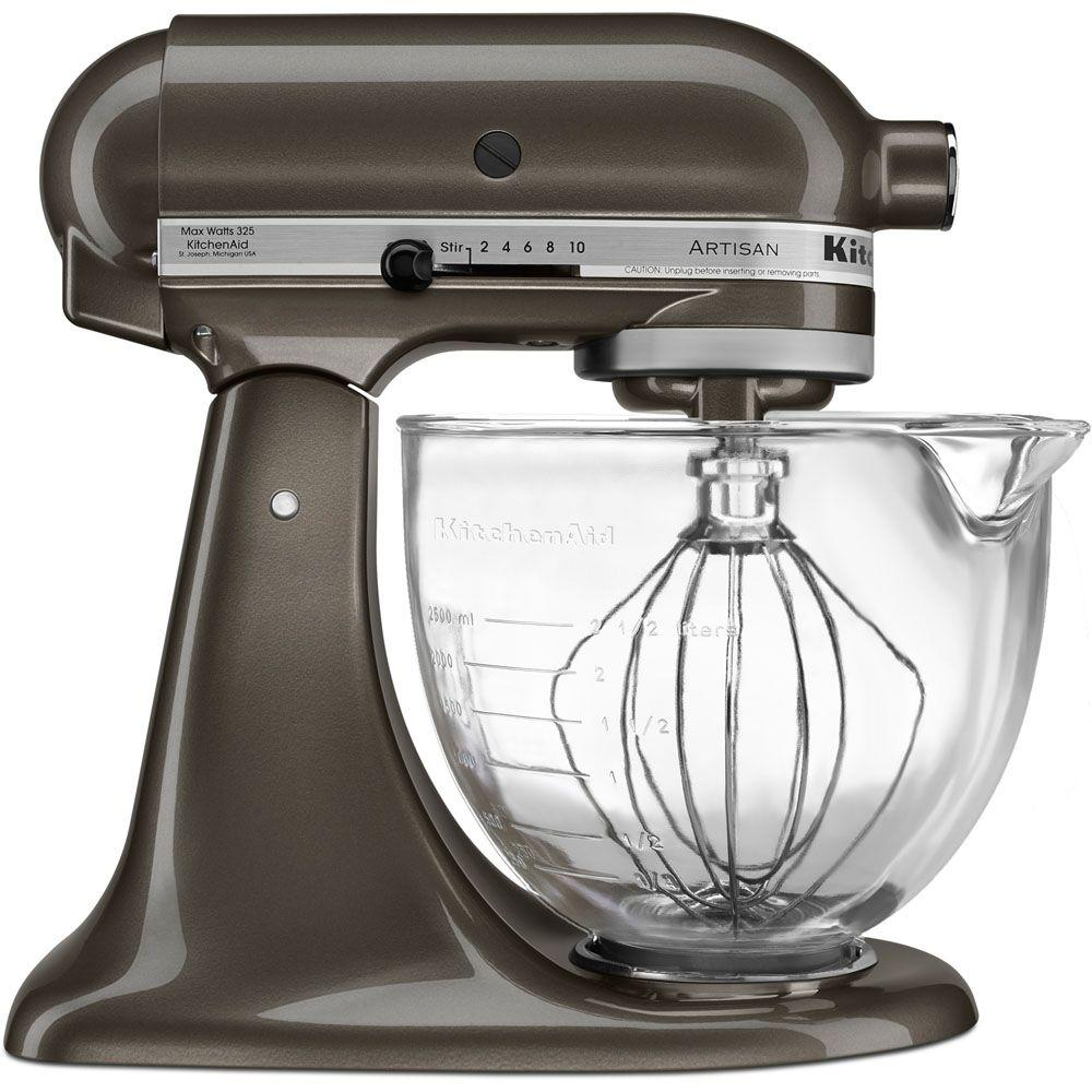 kitchen aid glass bowl orange canisters kitchenaid artisan designer 5 qt truffle dust stand mixer