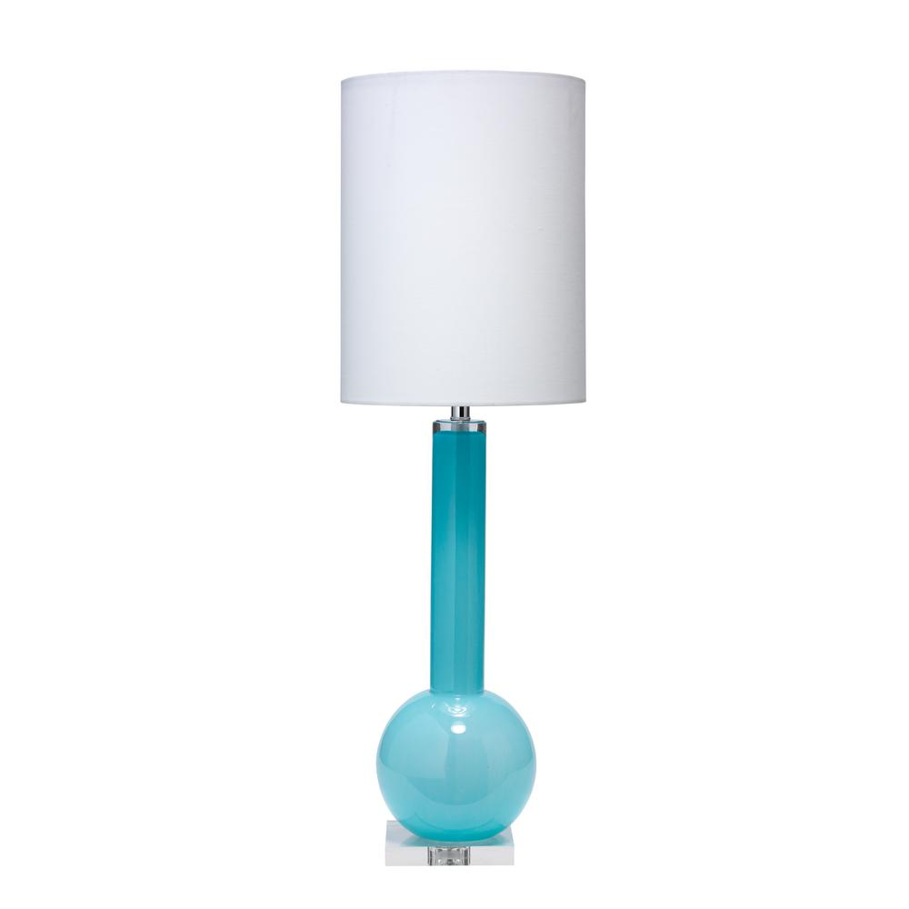 32.5 in. Blue Studio Table Lamp with Tall Thin Drum Shade