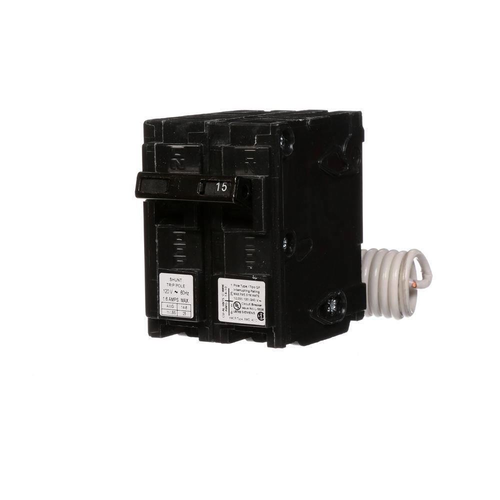 medium resolution of 15 amp single pole type qp circuit breaker with 120 volt shunt trip