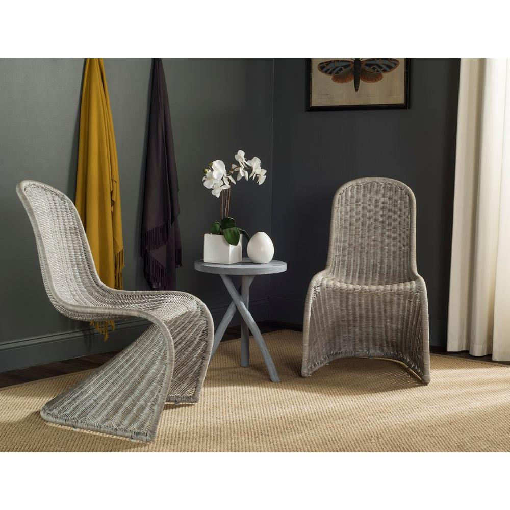 gray rattan dining chairs baby toys r us safavieh tana antique grey chair set of 2 sea8009b