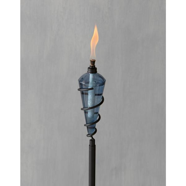 Tiki 64 In. Swirl Metal Torch With Teal Blue Glass Head