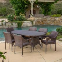 Noble House Jonathan Multi-brown 7-piece Wicker Outdoor