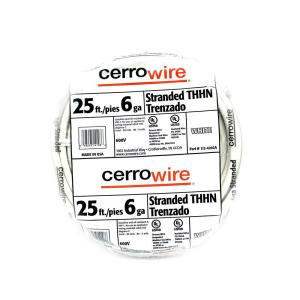 Cerrowire 25 ft. 6/1 White Stranded THHN Wire-112-4202AR