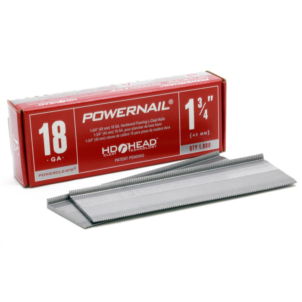 POWERNAIL 134 in x 18Gauge Powercleats Steel Hardwood Flooring Nails 1000PackL 17518