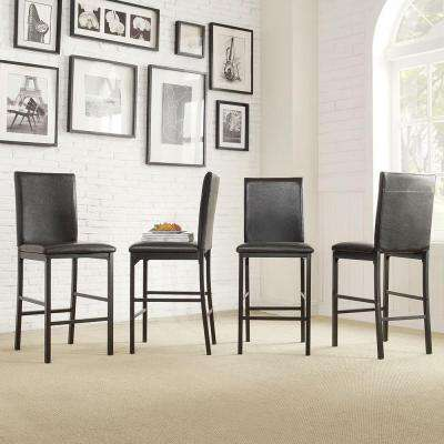 stools for kitchen cabinets doors only low back bar dining room furniture the home depot bedford black cushioned stool set of 4