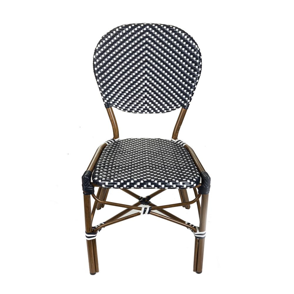 bistro chairs outdoor padded beach chair aspen brands brown aluminum stackable black and white plastic wicker commercial grade dining