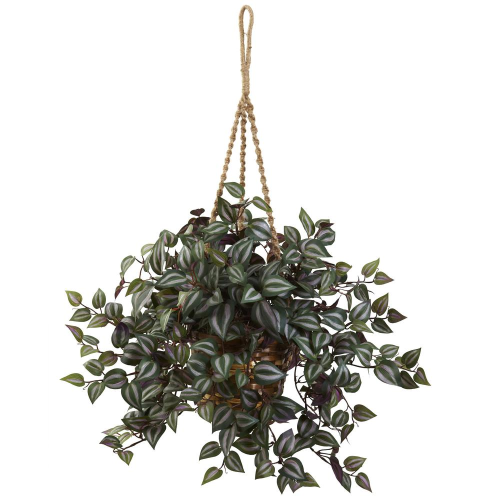 Nearly Natural 27 In Wandering Jew Hanging Basket 6854 The Home Depot