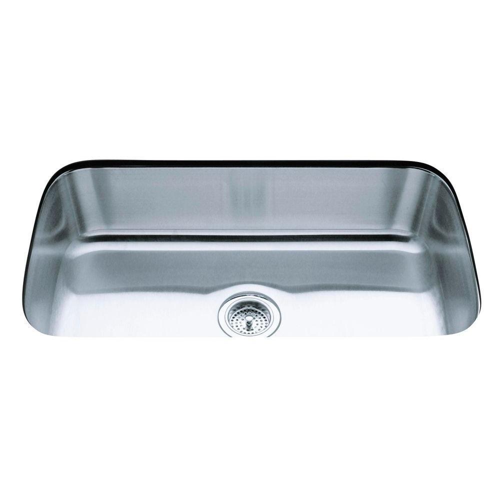 single bowl stainless kitchen sink solid wood shaker cabinets kohler undertone undercounter undermount steel 32 in basin