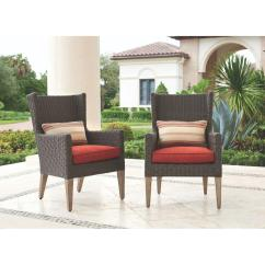 All Weather Wicker Outdoor Chairs Vision Ergonomic Chair Home Decorators Collection Naples Brown Arm Dining With Spice Cushions 2 Pack