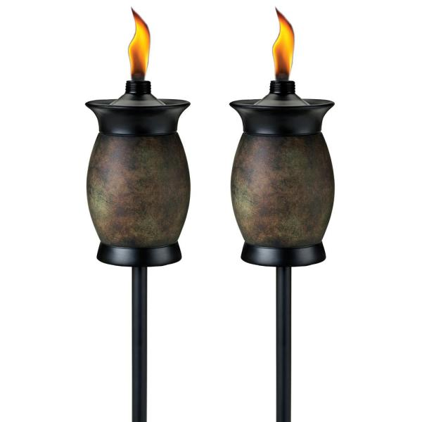 Tiki 64 In. Resin Jar Torch 4-in-1 Stone Color Pack Of 2