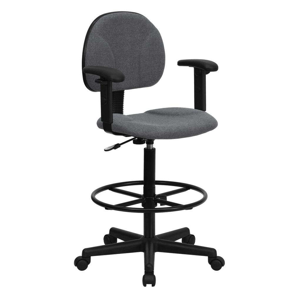 drafting chairs with arms wrought iron outdoor flash furniture gray fabric ergonomic chair height adjustable 22 5 in to