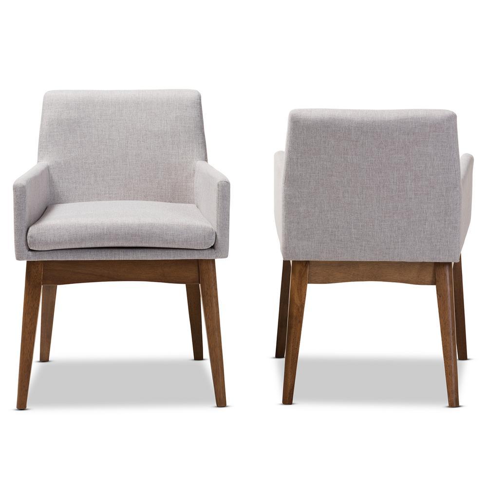 upholstered arm dining chair dinosaur desk japan upholstery beige chairs kitchen nexus greyish walnut brown fabric armchair set of 2