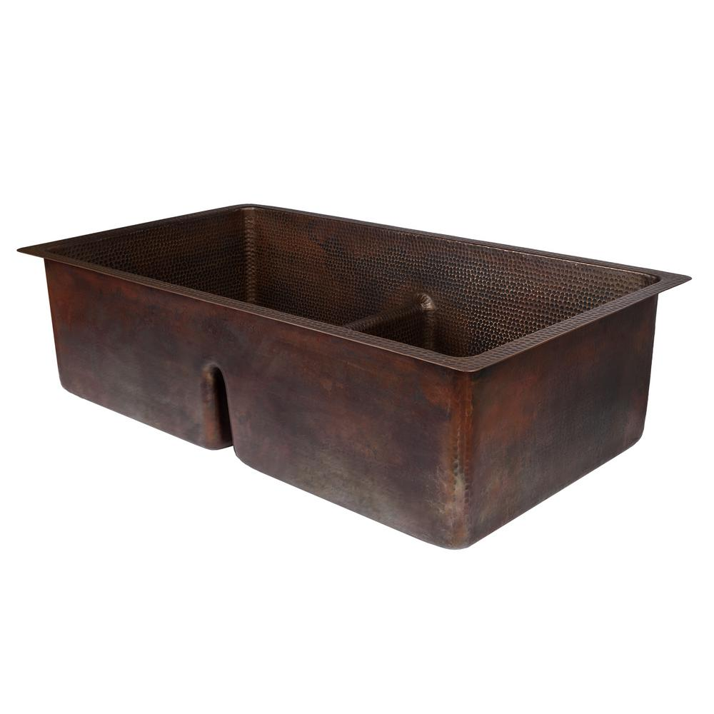 oil rubbed bronze kitchen sink wood countertops premier copper products dual mount hammered 33 in double bowl 50