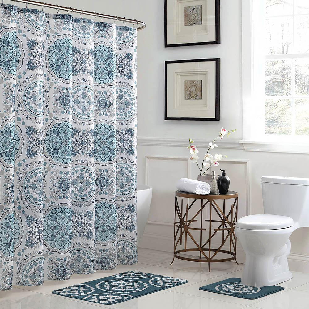 Bathroom Shower Curtain Bath Fusion Caroline Geometric 18 In X 30 In Bath Rug And 72 In