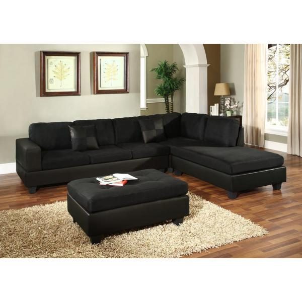 Venetian Worldwide Dallin Black Microfiber Sectional-mfs0005- - Home Depot