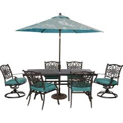 6 Chair Dining Set Kids Wooden Cambridge Seasons 7 Piece Patio Outdoor With Blue Cushions And Table Umbrella