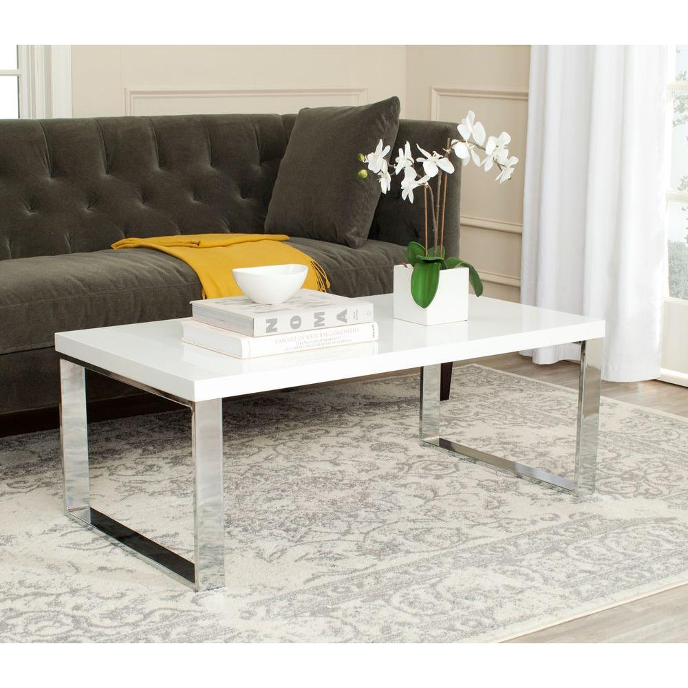 white living room side table green color schemes for rooms safavieh rockford coffee fox2215a the home depot