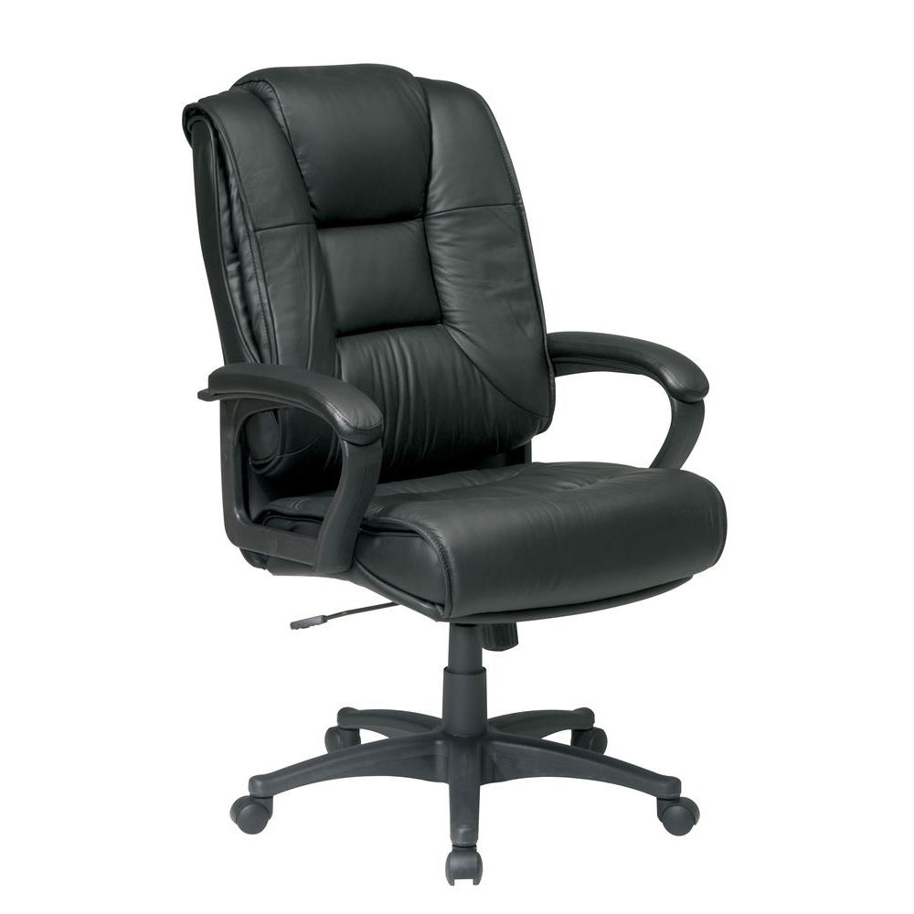 black leather desk chairs swivel beach chair work smart high back office ex5162 g13 the home depot